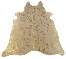 Cow hide carpet gold white grey